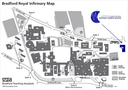 Bradford Royal Infirmary Site Map
